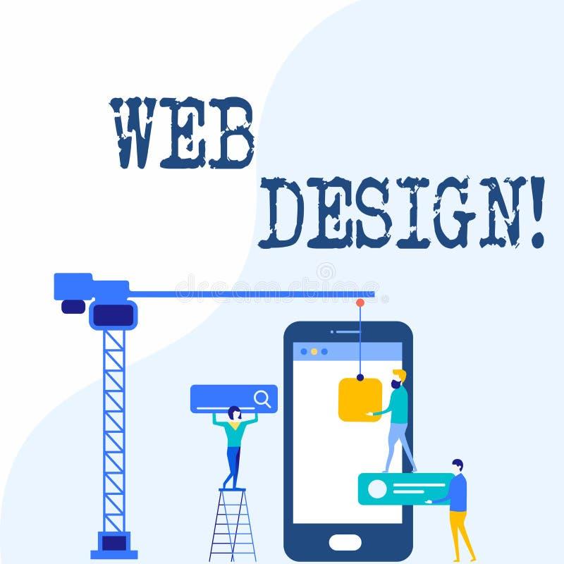Design web da escrita do texto da escrita Processo do significado do conceito de criar a produção satisfeita dos Web site e o pes ilustração stock