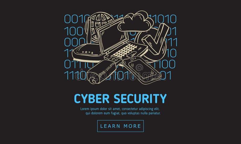 Design web da segurança da segurança do Cyber com ícones e dispositivos relacionados em um fundo do código binário Mão artística  ilustração stock