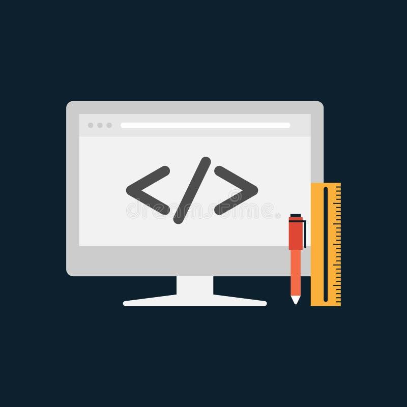 Design web e conceito do desenvolvimento ilustração do vetor