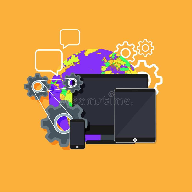 Design web interface website computer. Development responsive mobile, tablet, laptop UI screen. Digital technology site device vec. Tor. Banner sign network stock illustration