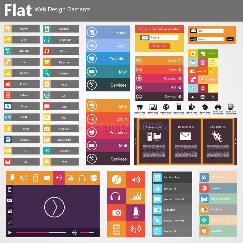Design web liso, elementos, botões, ícones. Moldes para o Web site. ilustração royalty free