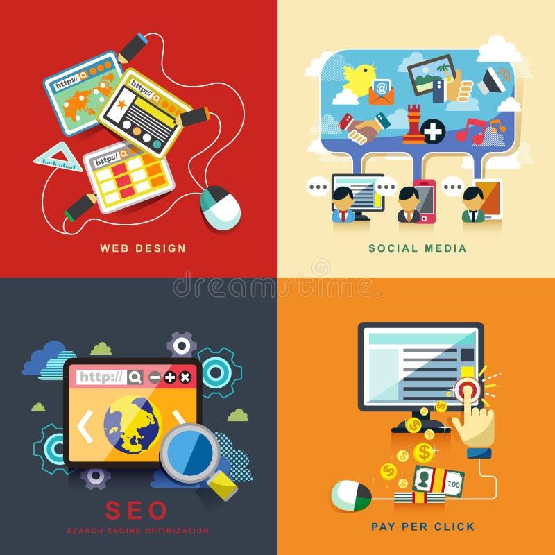 Design web liso, seo, meio social, pagamento pelo clique ilustração royalty free