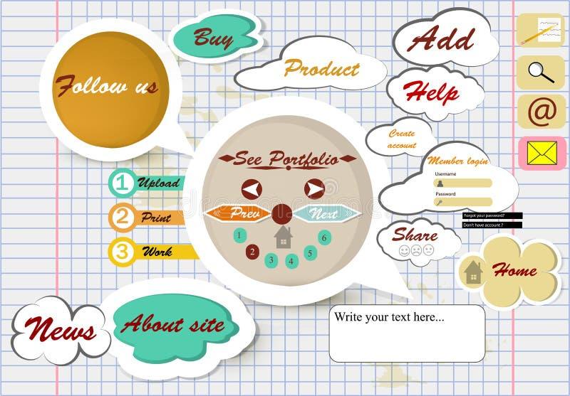 Design of web page on school copybook sheet. Vector webpage design on school copybook sheet vector illustration