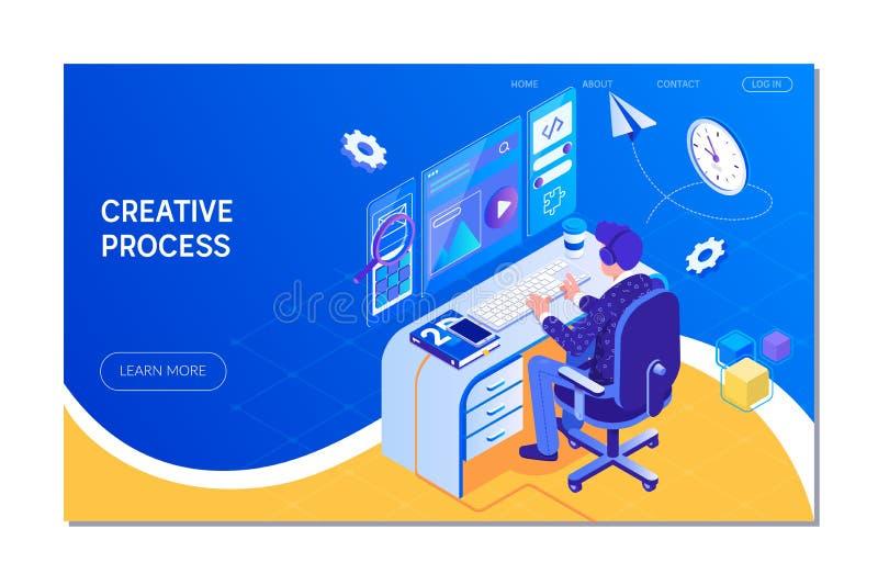 Design web, processo criativo teamwork Estilo isométrico da ilustração do vetor ilustração do vetor