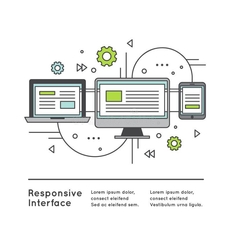 Design web responsivo da interface de utilizador ilustração stock