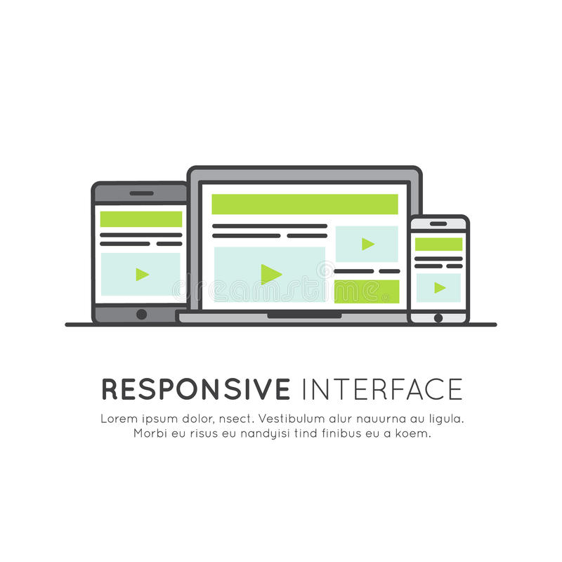 Design web responsivo da interface de utilizador ilustração royalty free