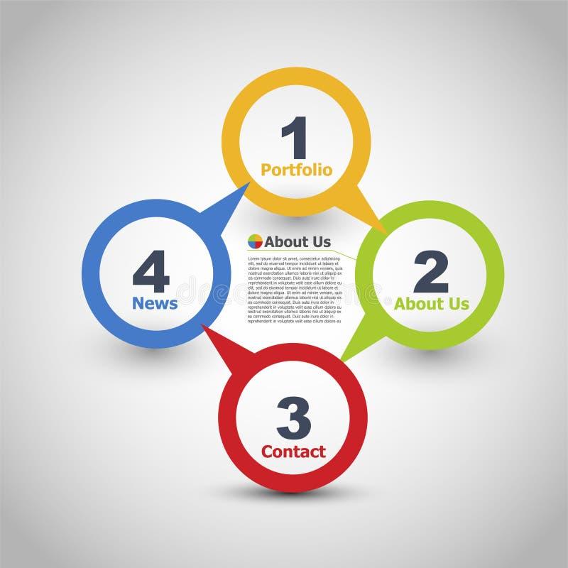 Design web Um dois tr?s quatro - etapas de papel do progresso do vetor para - vetor ilustração stock