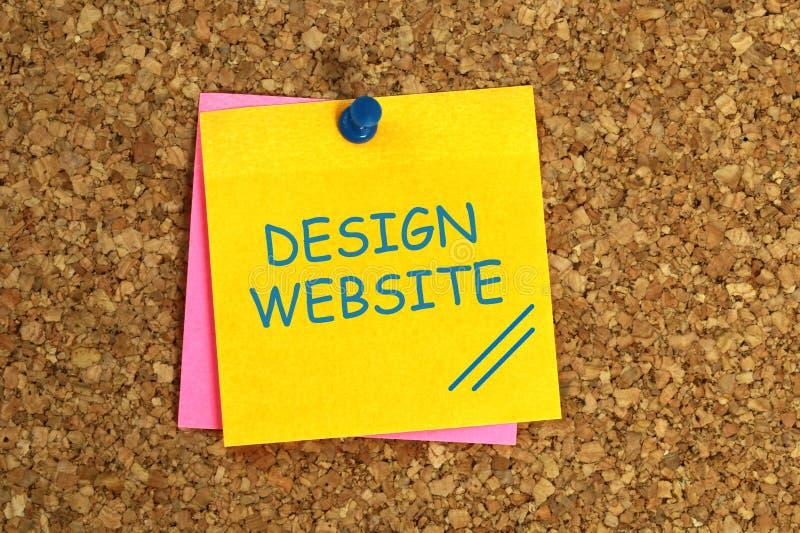 Design website sticky. Design website word on sticky stock illustration