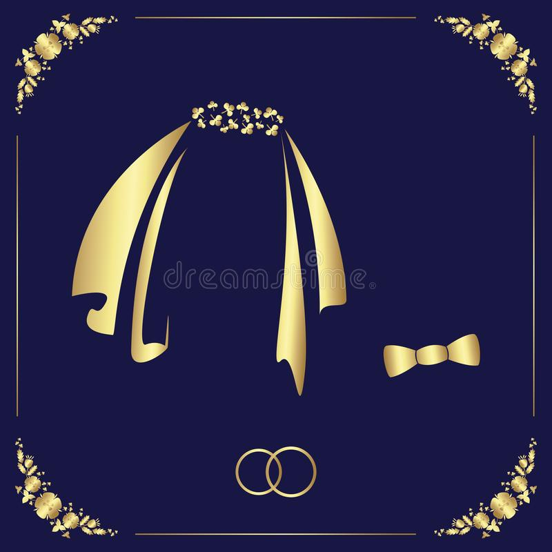 Design of a wedding template from a floral frame, two rings, veils and bow tie. Vector golden illustration for festive design stock illustration