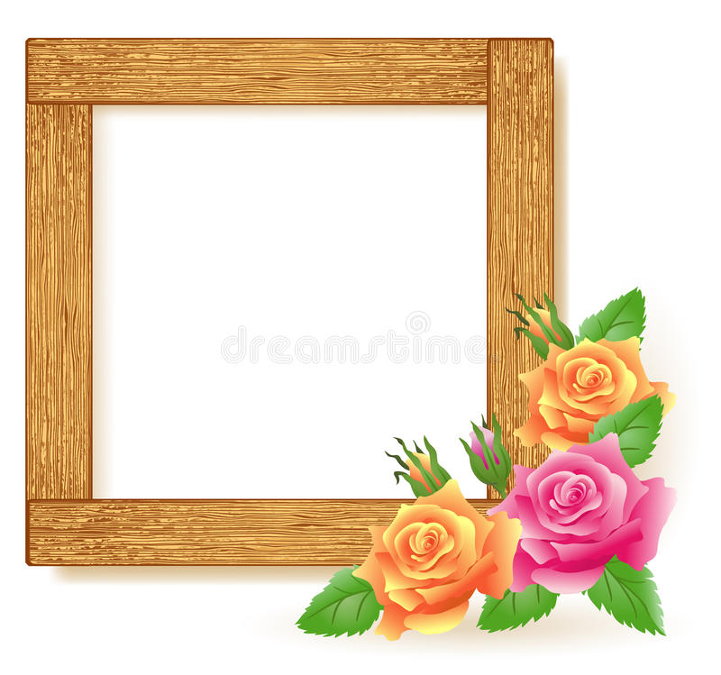 Design wooden photo frames vector illustration