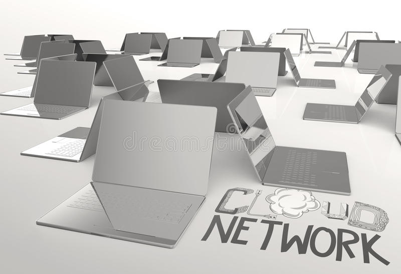 Design word hand drawn CLOUD NETWORK and 3d laptop computer. As concept stock illustration