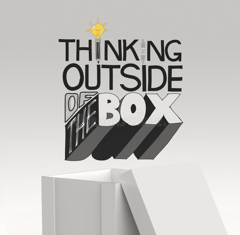 Design word THINKING OUTSIDE OF THE BOX. Open box 3d and design word THINKING OUTSIDE OF THE BOX as concept royalty free illustration