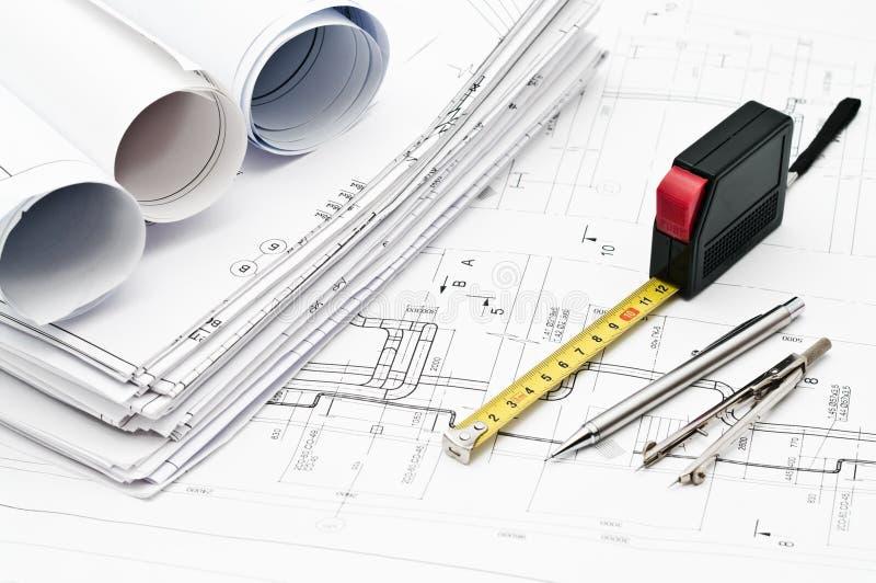 Design and working blueprints stock photos