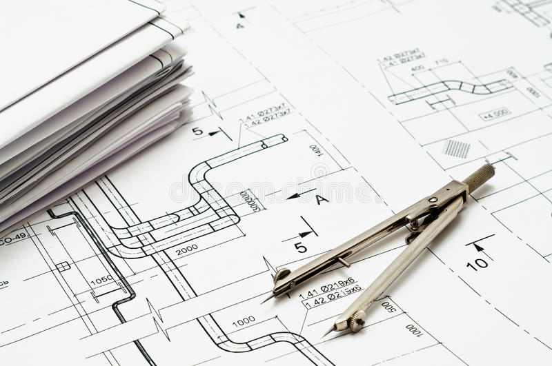 Design and working blueprints royalty free stock photo