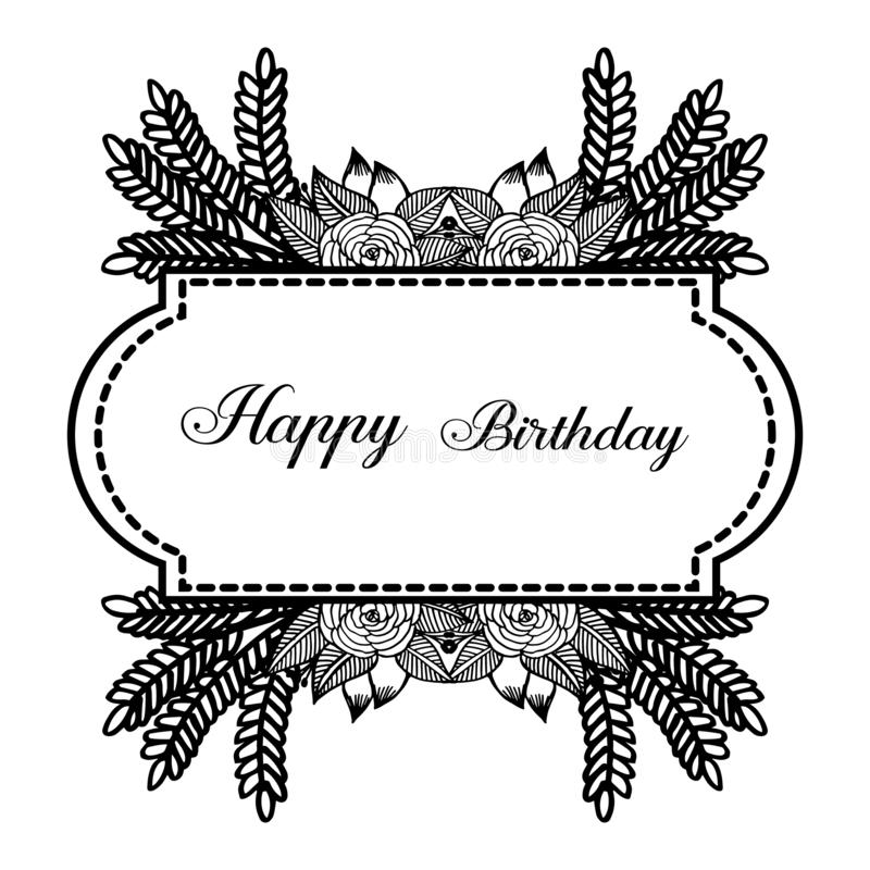 Design wreath frame, happy birthday background, for invitation card, greeting card. Vector. Illustration royalty free illustration