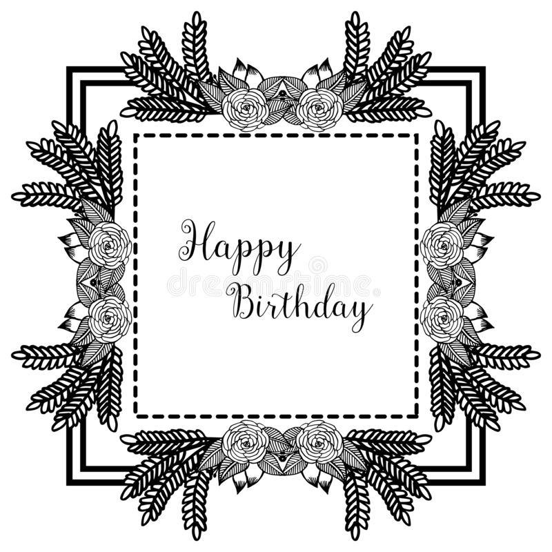 Design wreath frame, happy birthday background, for invitation card, greeting card. Vector. Illustration stock illustration