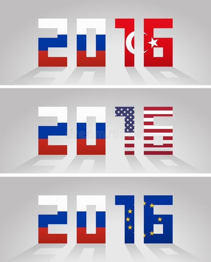 Designação do ano 2016 com as bandeiras de Rússia e de Turquia, unidas ilustração stock