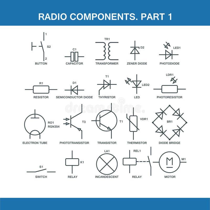 Designação dos componentes no diagrama de fiação ilustração royalty free