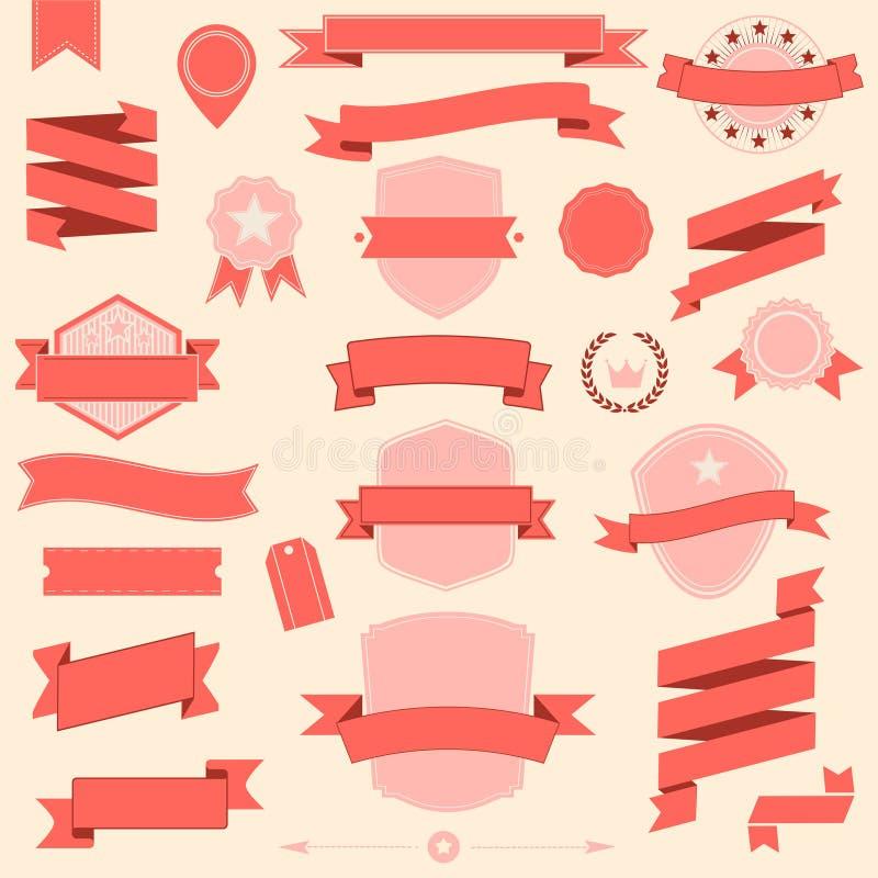 Designbänder und -ausweis des großen Satzes Vector Retro- Gestaltungselemente lizenzfreie abbildung