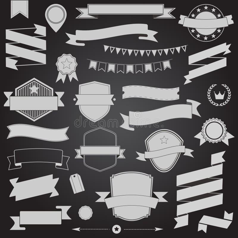 Designbänder und -ausweis des großen Satzes Vector Retro- Gestaltungselemente stock abbildung