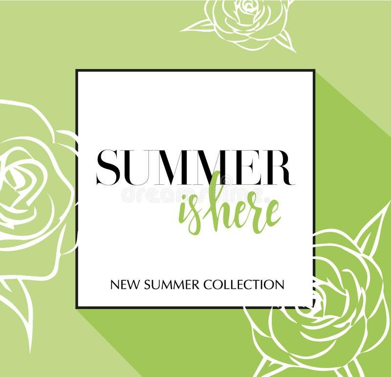 Designbaner med att märka den Summeris här logoen Grönt limefruktkort för vårsäsong med svarta ram- och wthiterosor befordran royaltyfri illustrationer