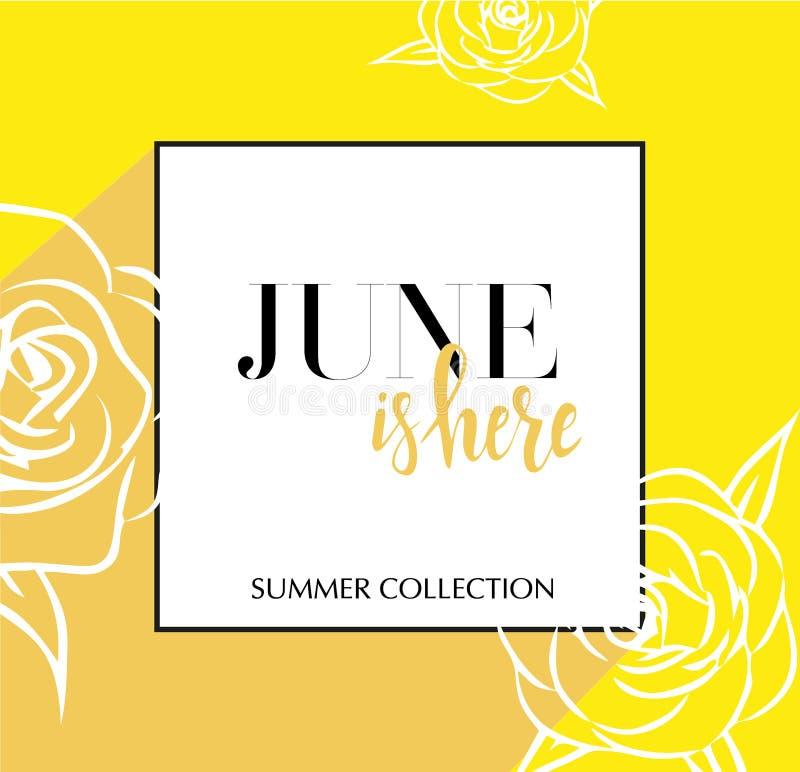 Designbanret med att märka Juni är här logoen gult kort för vårsäsong med svarta ram- och wthiterosor Befordranerbjudande royaltyfri illustrationer