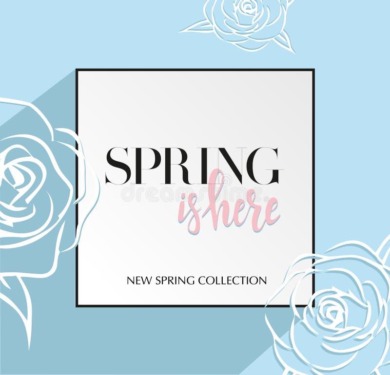 Designbanret med att märka våren är här logoen Ljust - blått kort för vårsäsong med den svarta ramen och rosen Befordranerbjudand stock illustrationer