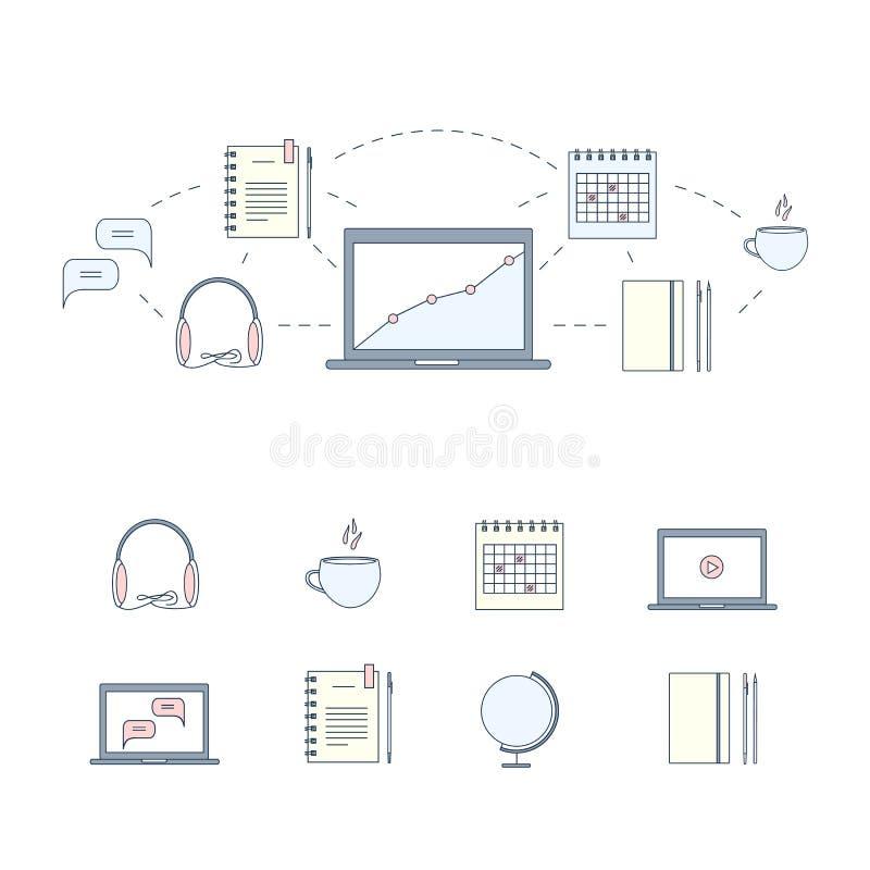 Designbegrepp för att studera, att lära, avstånd och online-utbildning Färglinje rengöringsdukbaner och symbolsuppsättning också  royaltyfri illustrationer