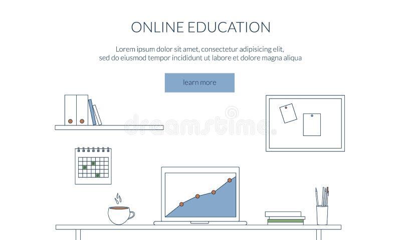 Designbegrepp för att studera, att lära, avstånd och online-utbildning Workspace arbetsplats Plan tunn linje rengöringsdukbaner stock illustrationer