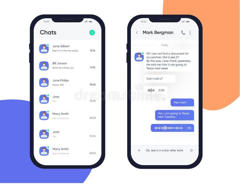 Designbegrepp för mobil UI UX Moderiktig Chatbot applikation med dialogfönstret pratstund för blå ask Sms budbärare Application stock illustrationer