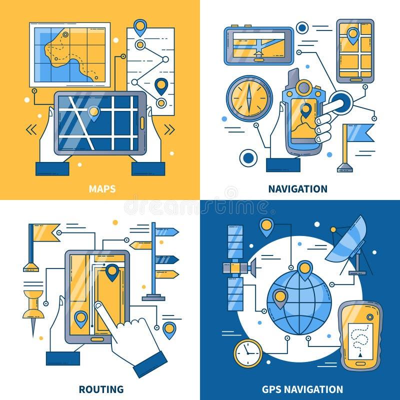 Designbegrepp för navigering 2x2 royaltyfri illustrationer