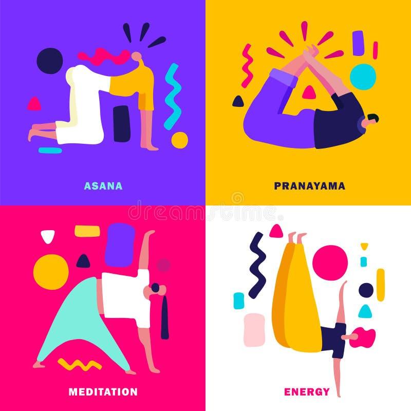 Designbegrepp för yoga 2x2 royaltyfri illustrationer