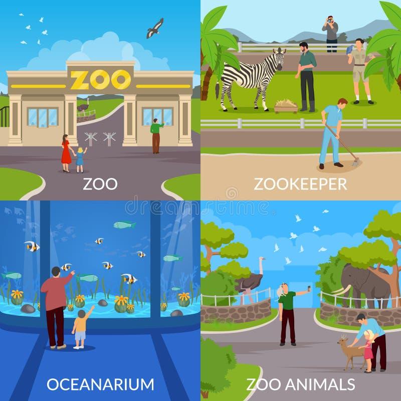 Designbegrepp för zoo 2x2 royaltyfri illustrationer