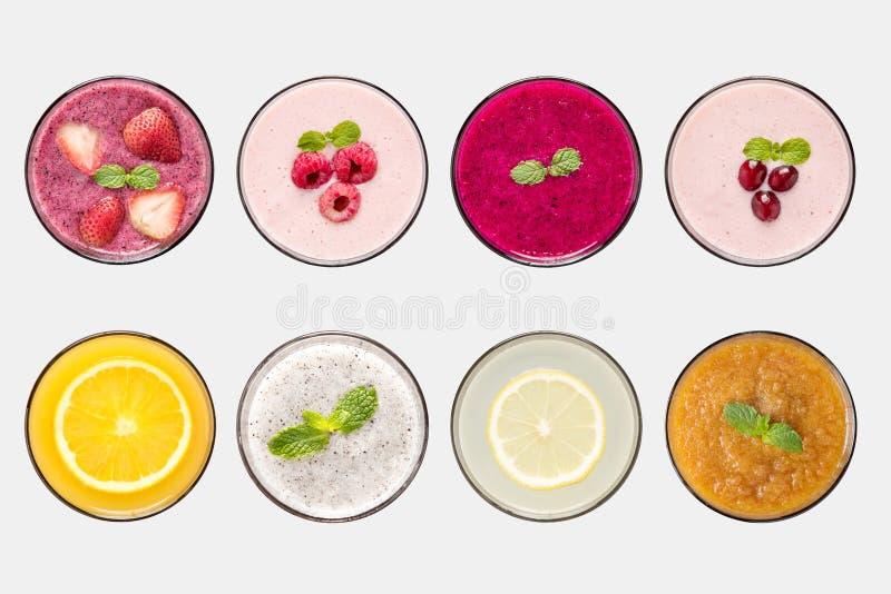 Designbegreppet av modellfruktsmoothien och fruktfruktsaft ställde in royaltyfri foto