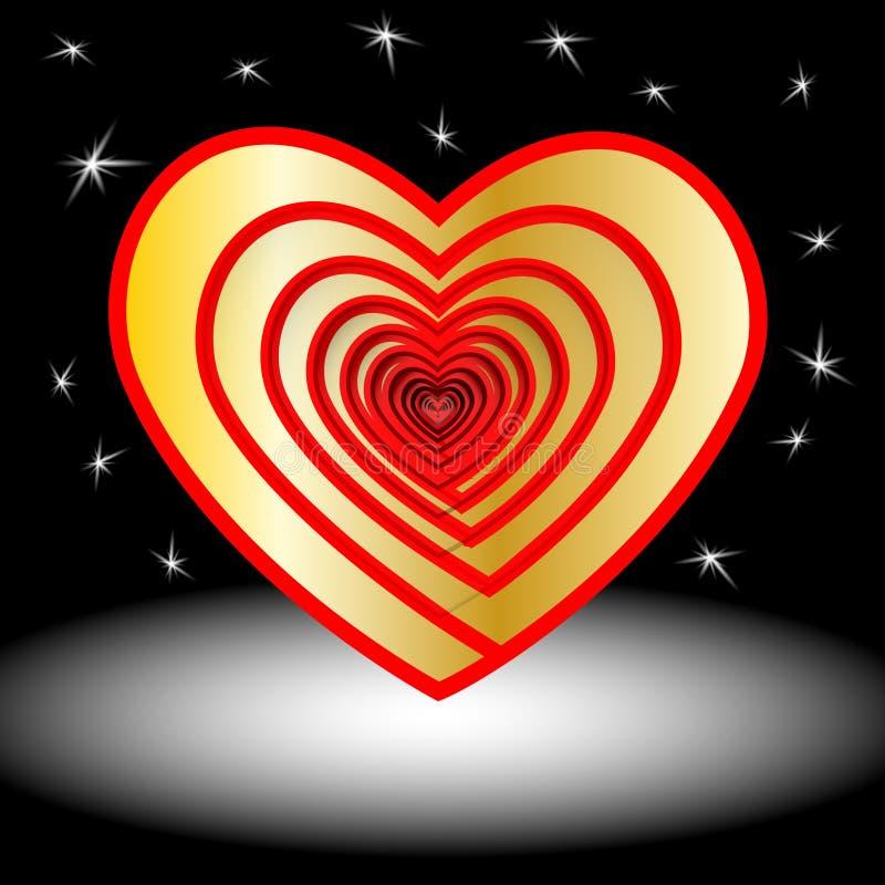 Designbeståndsdelar för dag för valentin s vektor En hjärta av guld symbol E Rött illustration stock illustrationer