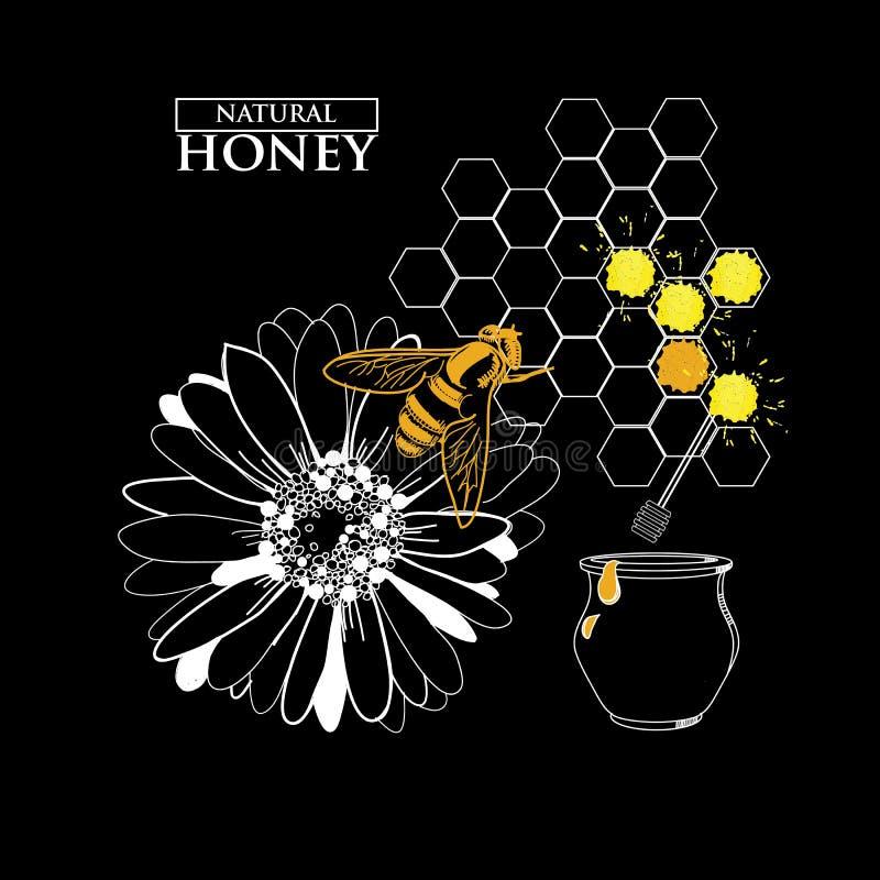 Designbeståndsdelar för honungdesign stock illustrationer
