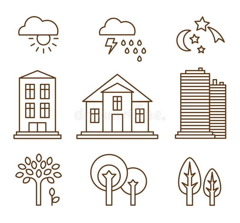 Designbeståndsdelar för stadsillustration eller översikt stock illustrationer