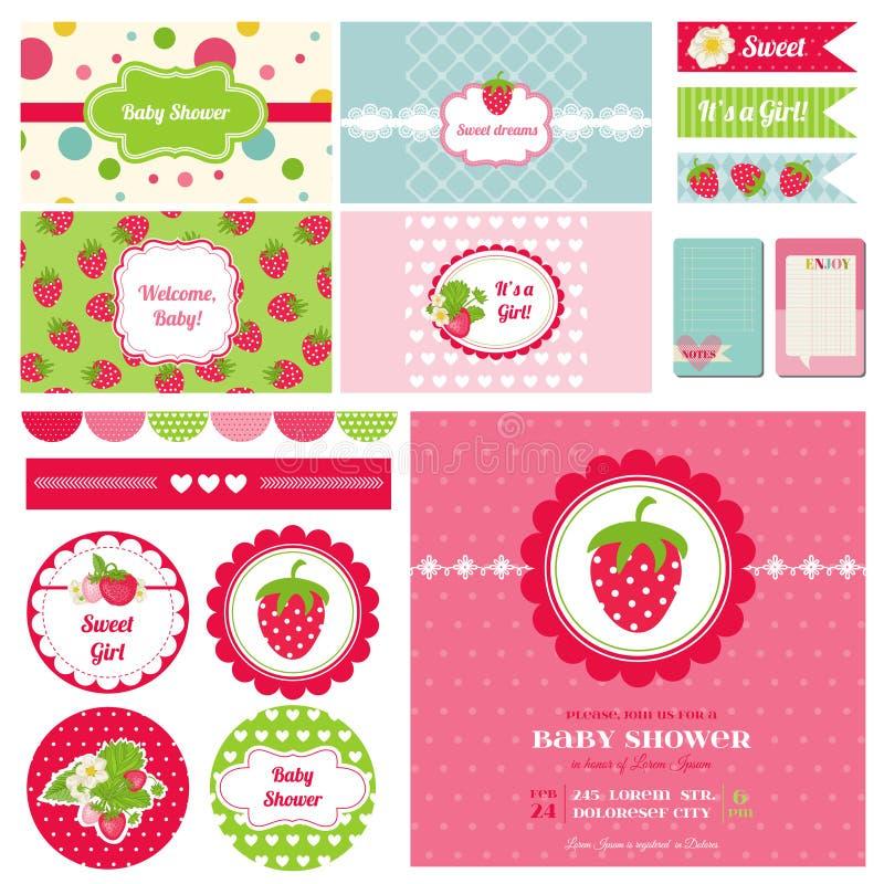 Designbeståndsdelar - jordgubbebaby showertema vektor illustrationer