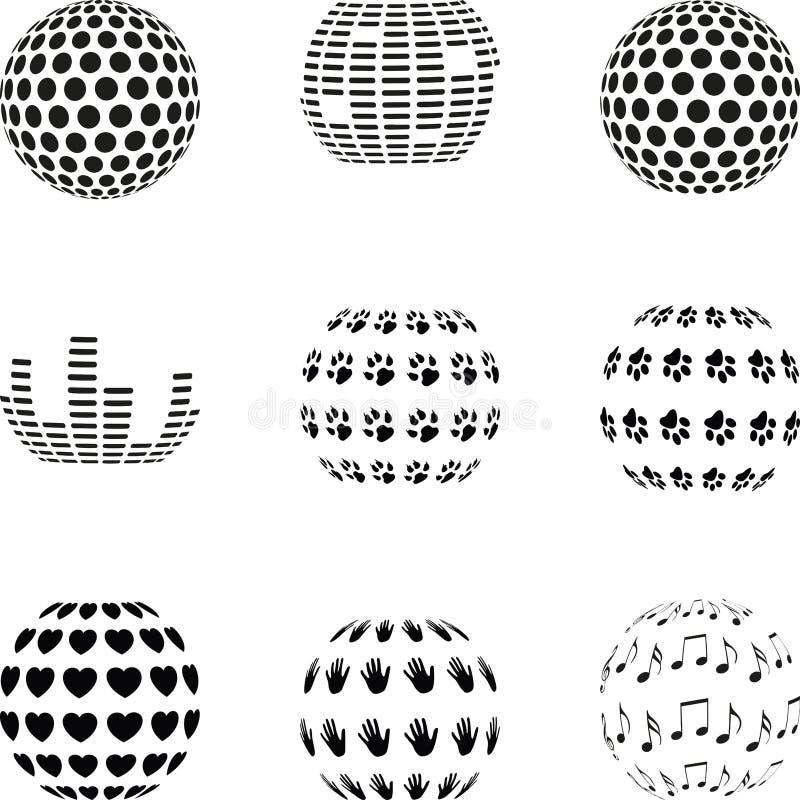 Designbeståndsdelar, logosamling, abstrakt sfär, designbeståndsdelsamling, olika sfärer vektor illustrationer