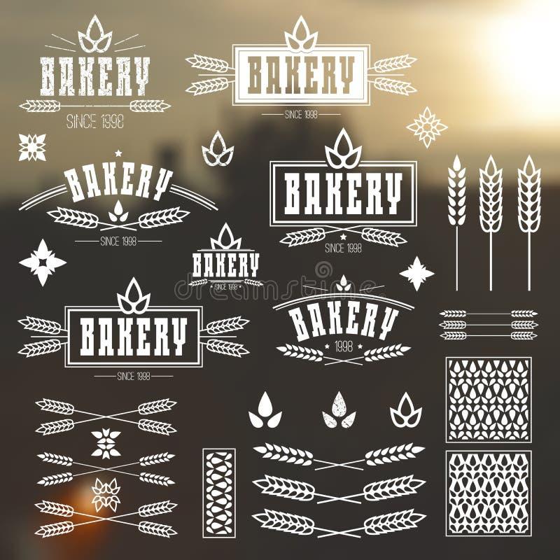 Designbeståndsdelar och logo för bageri stock illustrationer