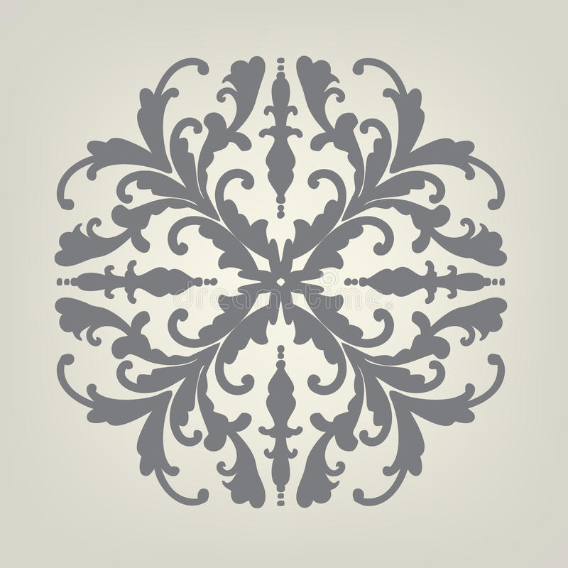 Designbeståndsdelvektor av den utsmyckade symmetriska modellen i mörker - grå färg på friläge av vit eller ljus - brun färgbakgru vektor illustrationer