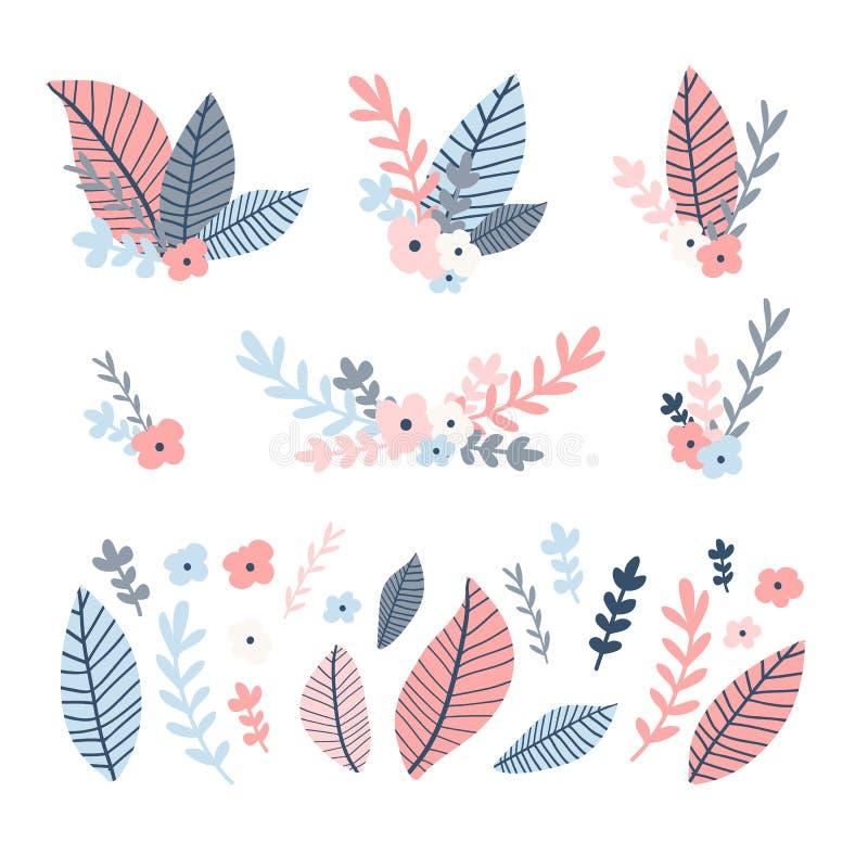 Designblommauppsättning Illustration med bukettbladet och blom- och frunch Samlingsrosa färger och blå naturlig garnering vektor illustrationer