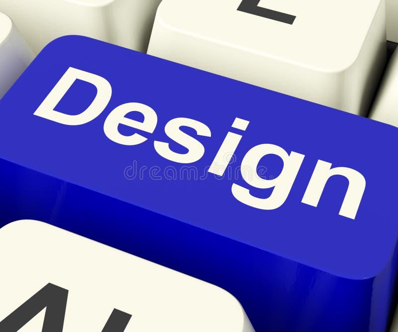 Designdatortangent som direktanslutet betyder idérikt konstverk royaltyfri illustrationer