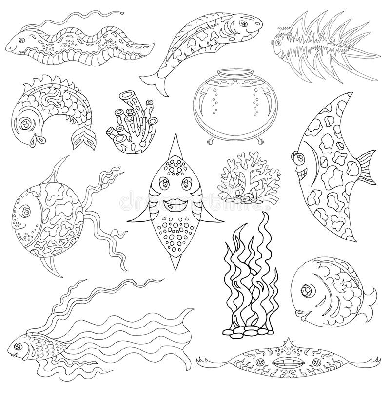Designdiagramuppsättningen med fisken, akvariet och havet rensar vektor illustrationer