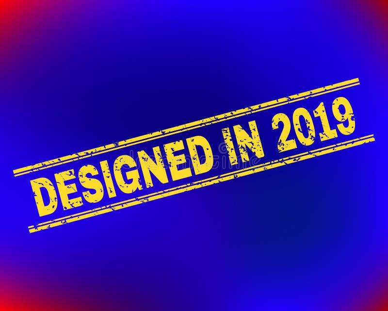 DESIGNED IN 2019 Grunge Stamp Seal on Gradient Background vector illustration