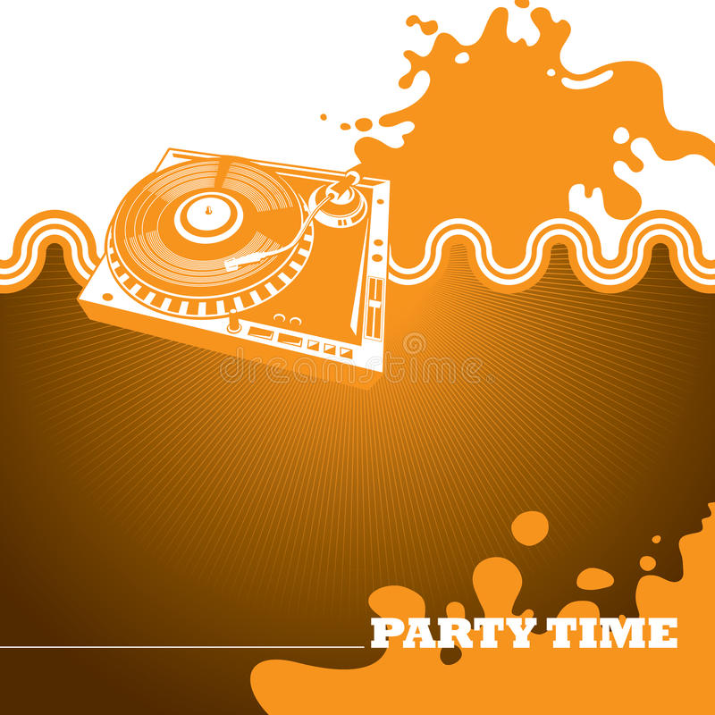 Designed party banner. Designed party banner with turntable royalty free illustration