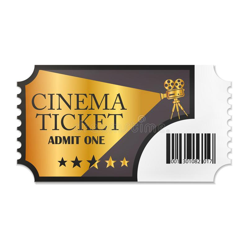 Designed retro cinema ticket close up top view isolated on white background. Vector illustration. Eps 10 vector illustration