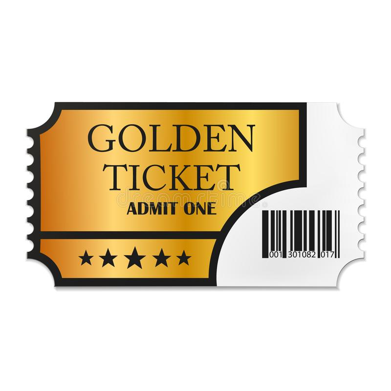 Designed retro Golden Ticket close up top view isolated on white background. Vector illustration. Eps 10 royalty free illustration