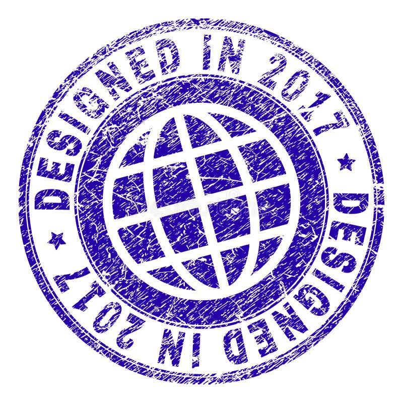 Grunge Textured DESIGNED IN 2017 Stamp Seal royalty free illustration