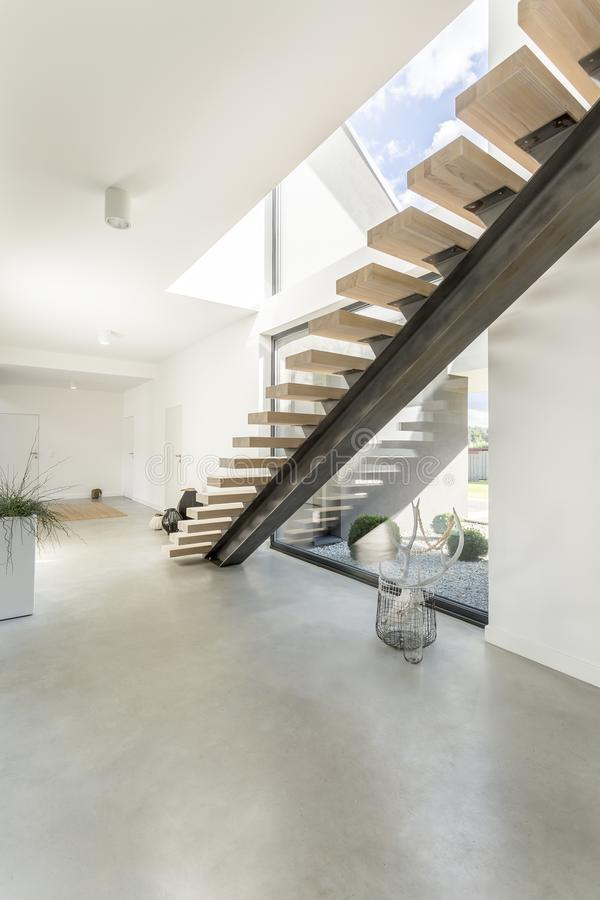 Apartment with skull of deer. Designed wooden stairs in spacious white apartment with skull of deer in basket from travel stock photography